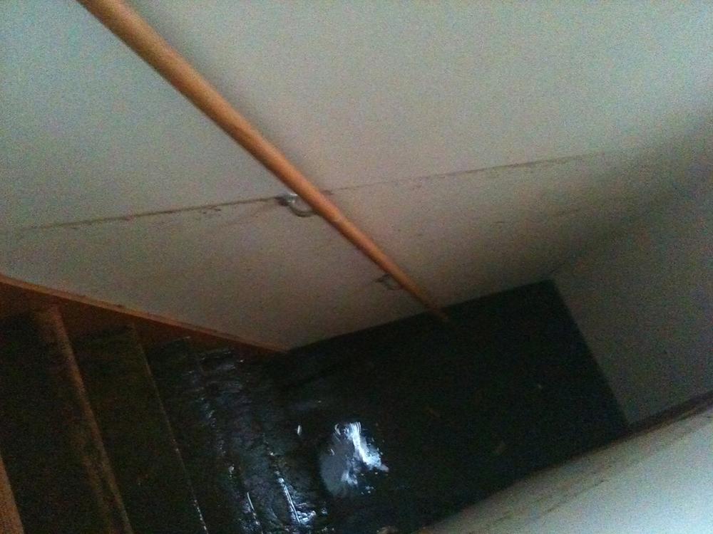 自宅階段の最上段まで上がった泥水が一旦引いた時(この後また2階まで浸水)