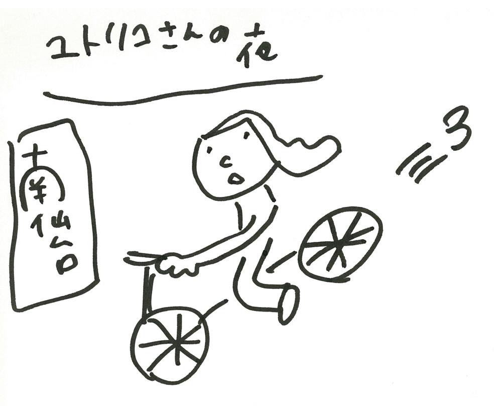 ユトリコさんの自転車で自宅に戻る